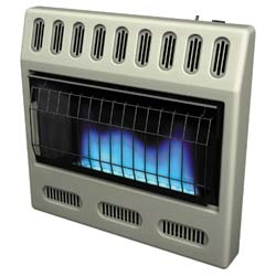 Glo-Warm Blue Flame Convection heaters work much like a central heating system. The room is wrapped in a blanket of comfort as the air is warmed.